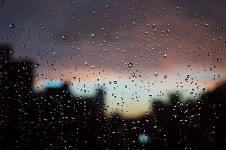 raindrops, sunset, window, depression, out the window, red, rain