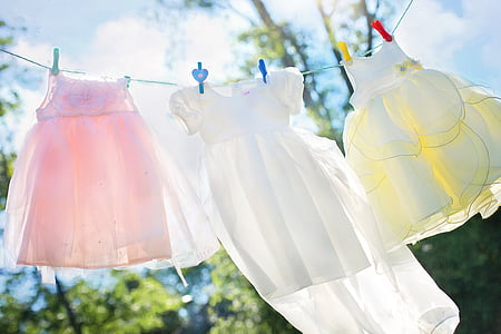 clothesline, little girl dresses, laundry, hang, clothing, girl, clean