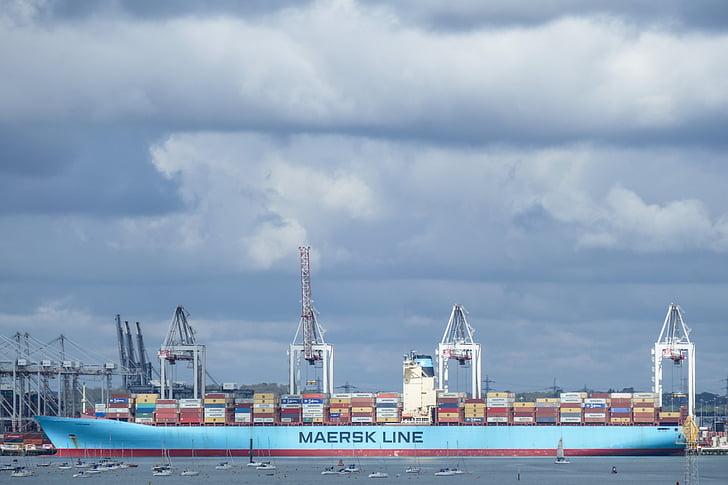 集装箱船, 船舶, 集装箱, 删除, 端口, 航运, 行业
