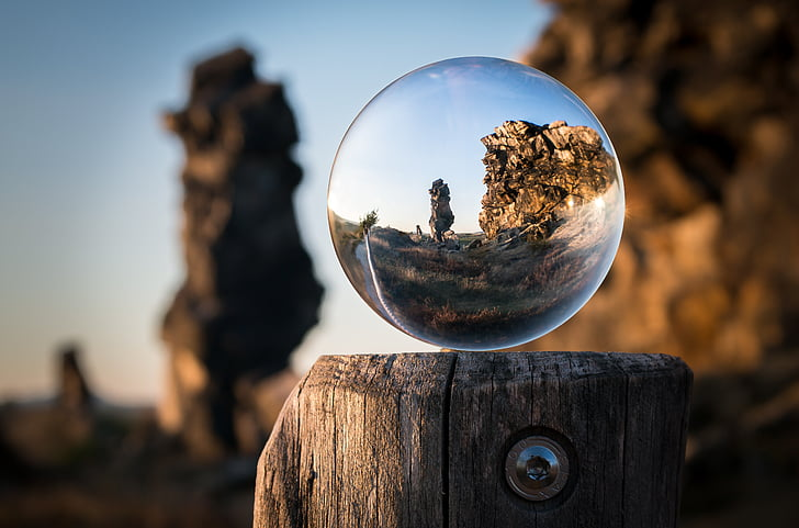 glass ball, devil's wall, resin, königstein, globe image, rock, hike
