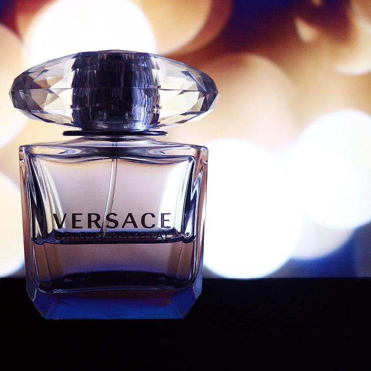 Versace, nước hoa, sản phẩm, bakeh, thủy tinh, chuẩn bị, cận cảnh