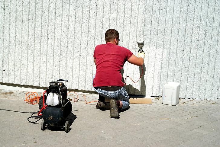 gun, pictorial, painter, painting, people, employee, poland