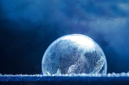seebimull, külmutatud, jää, talvel, külmutatud bubble, eiskristalle, jää-kott
