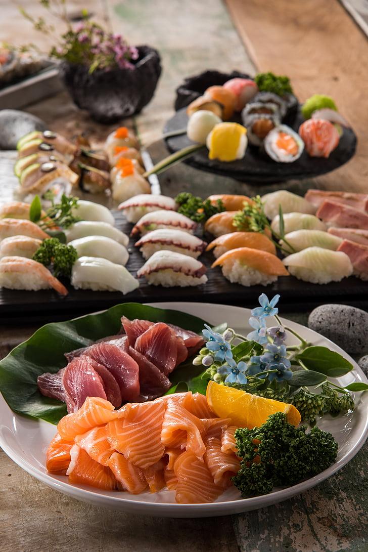 Sushi, cibo, delizioso, salmone, mangiare, piastra, ristoranti
