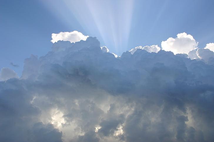 dangus, debesys, saulės spinduliai