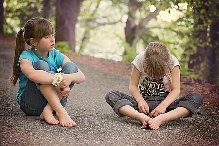 children, human, girl, sitting, talk, road, away
