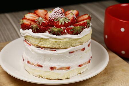 bolo pequeno, de cozimento, delicioso, bolo de morango, comida e bebida, sobremesa, alimentos doces