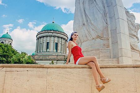 young woman, woman, summer, holiday, polka dot dress, young girl, long legs