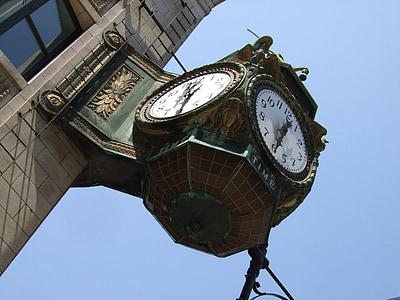 Uhr, Chicago, Retro, Architektur, Wahrzeichen, Gebäude, Architekturdesign