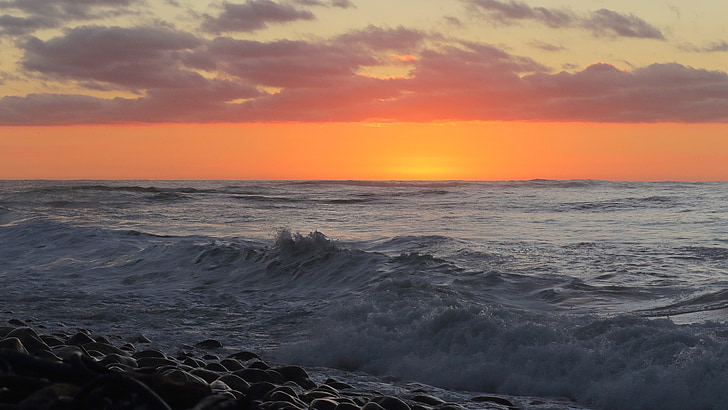 oceà, posta de sol, ones, Mar, natura, fons posta de sol, taronja