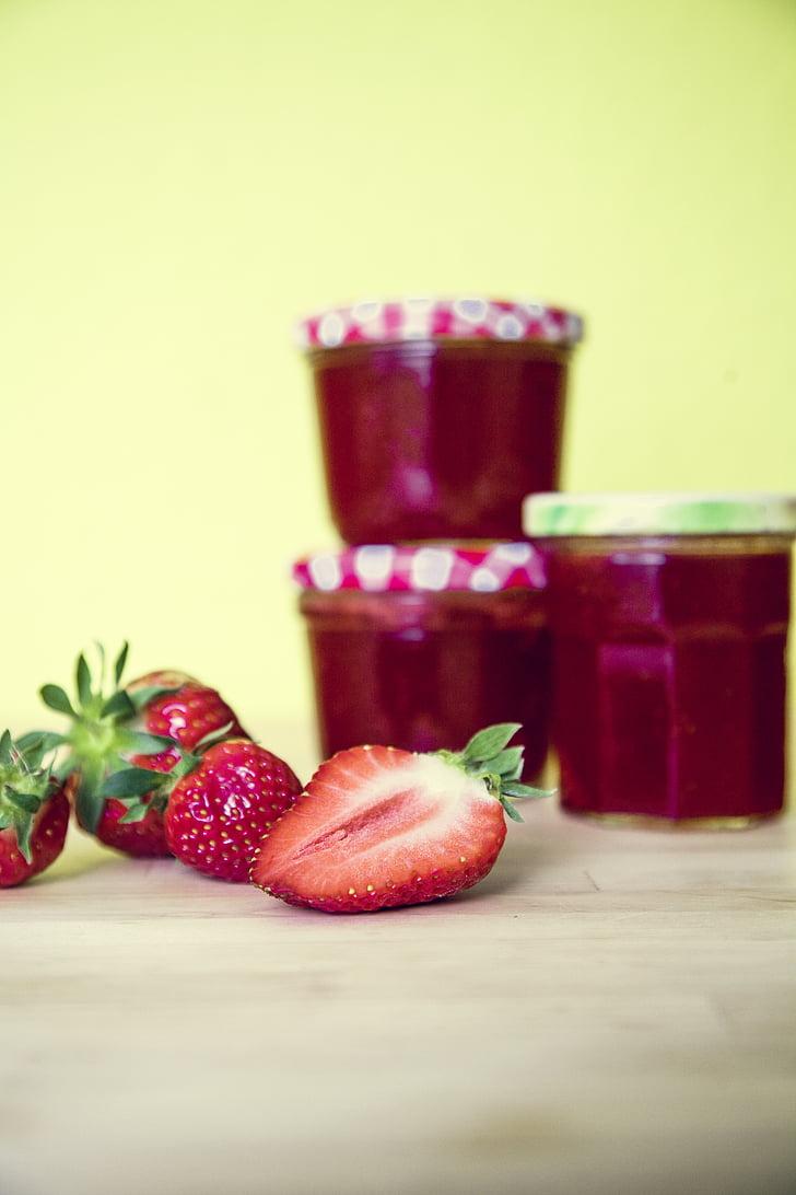 zemenes, ievārījums, stikls, pavārs, izplatīšanos, vitamīnu, Brokastis
