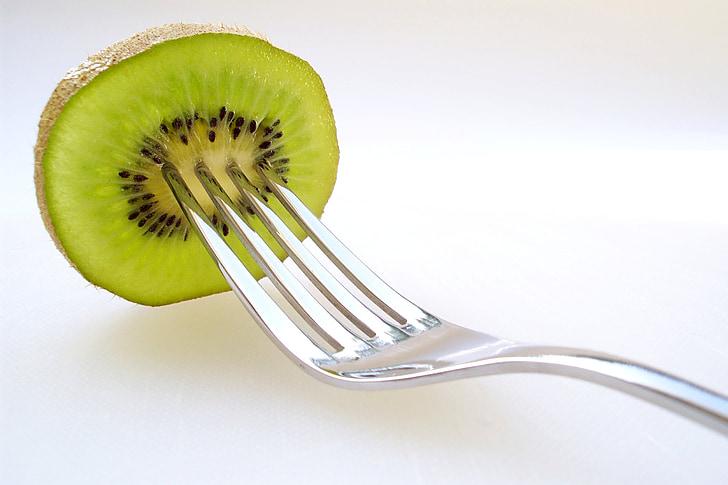 Kiwi, frugt, frugter, gaffel, grøn, mad, friskhed