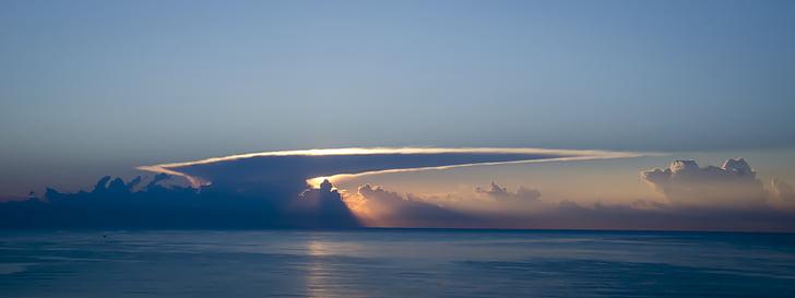 Alba, Puig, Valencia, mare, nuvole, Spiaggia di Dawn beach, mare di alba