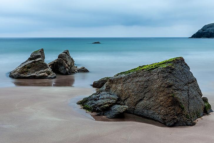 Mar, Escòcia, resta, Roca, platja, Costa, l'aigua
