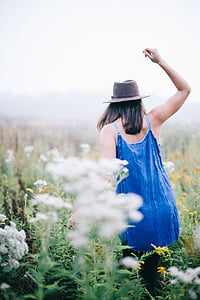 woman, wearing, blue, spaghetti, strap, dress, grass