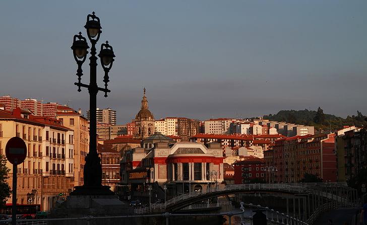 bilbao, spain, cityscape, city at dusk, city street, street lamp, dusk