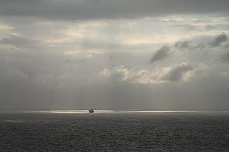 boirosa, Mar profund, oceà, Alba, vaixell, sunrays, Mar