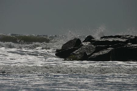 hav, steiner, sjøen, vann, krasjer, krasj, Splash