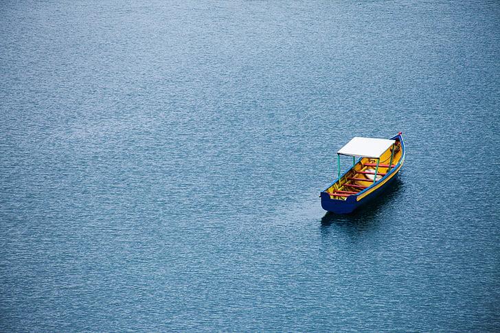 båt, hav, sjøen, vann
