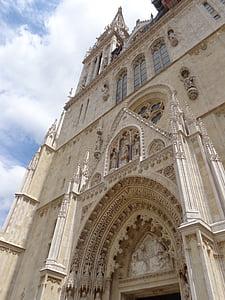 zagreb, croatia, the cathedral, church, portico, monuments, sculpture