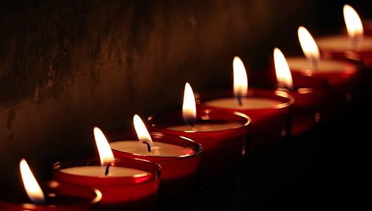 fyrfadslys, kirke, lys, bøn, Candlelight, tro, religion