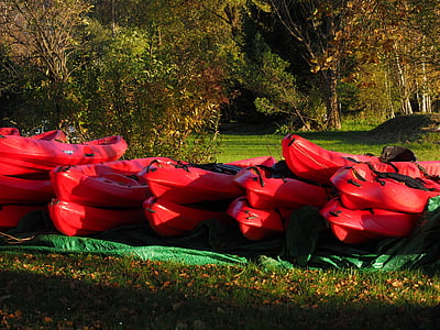 canoes, boats, red, canoeing, boot, paddle, kayak