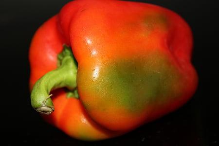 punane pipar, köögiviljad, puu, oranž, punane, punane paprika, koostisosa