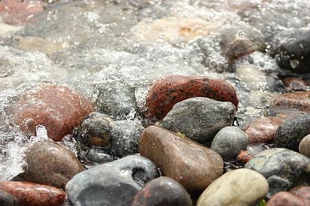 akmeņi, pludmale, smilts, jūra, olis, Dānija, krasts