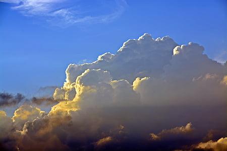 스카이, 구름, 어두운 구름, 블루, 구름 모양, 덮여 스카이, 저녁 하늘