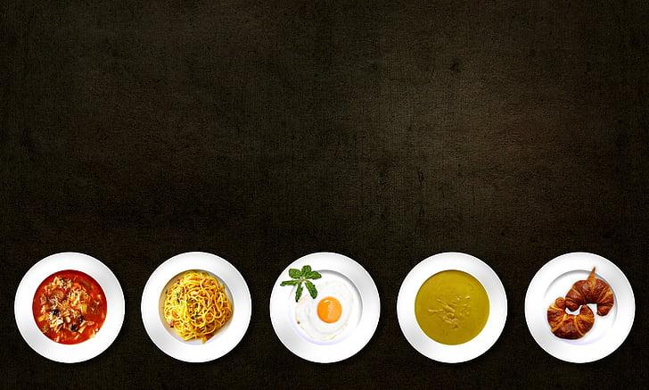 plat, ou, aliments, bany de menjar, àpat, fideus, imatges de la reialesa