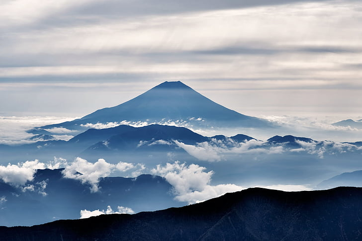 Gunung fuji, siluet, awan, pemandangan, Alpen Selatan dari outlook, Gunung berapi, Oktober