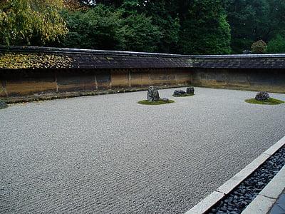 Zen, Sân vườn, viên sỏi, đá, lĩnh vực, máy bay, Zen garden
