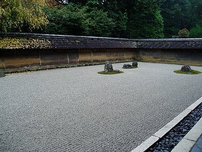 Zen, jardin, cailloux, pierres, domaine, avion, jardin zen