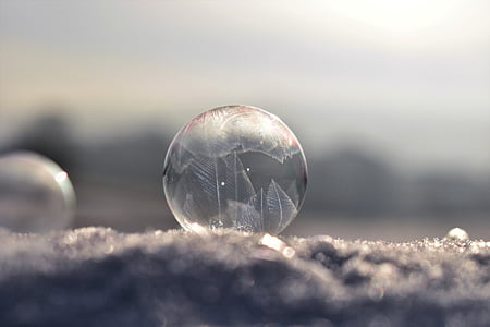 soap bubble, frozen, frozen bubble, winter, eiskristalle, wintry, cold
