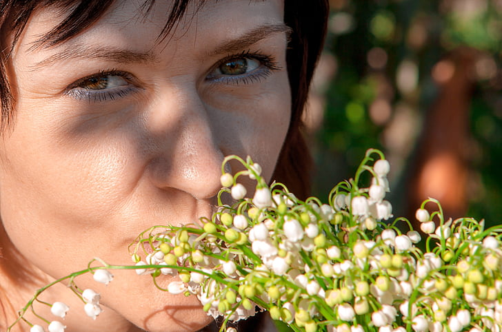spring, lilies of the valley, girl, person, portrait, eyes, portrait of a girl