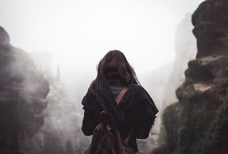 persones, dona, viatges, aventura, sol, una persona, una dona només