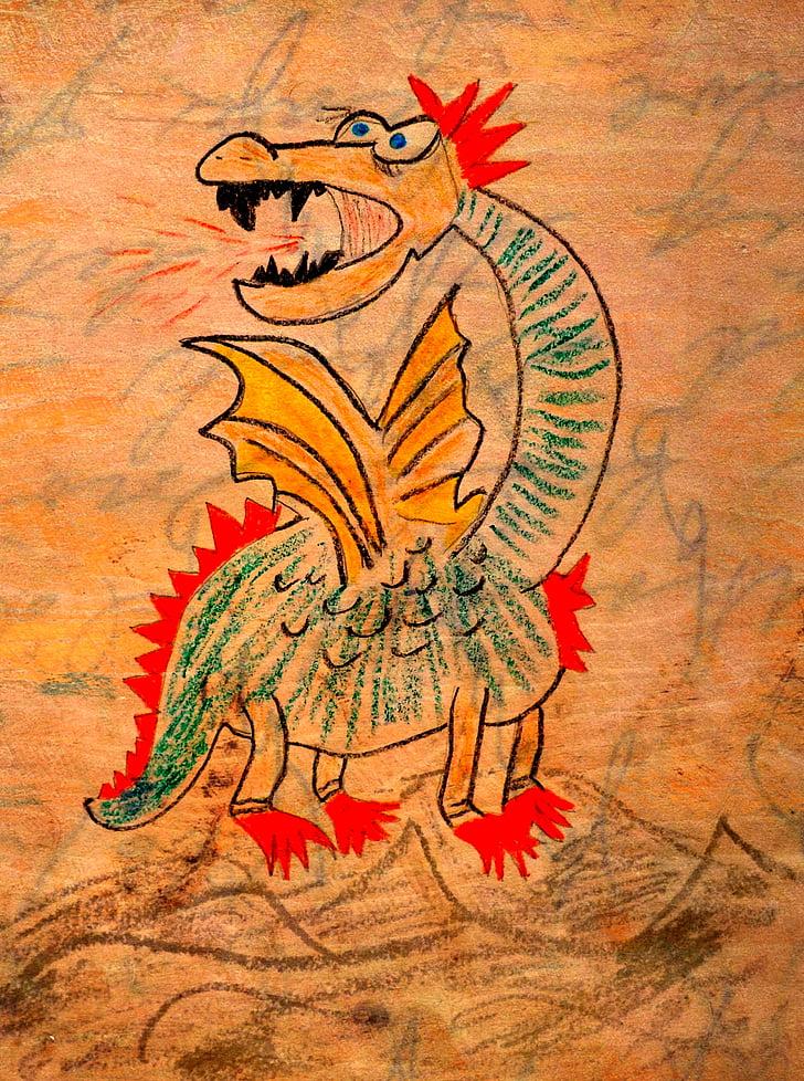drakonas, brėžinys, gaisro kvėpavimo drakonas, mitinės būtybės, pasakų motyvais