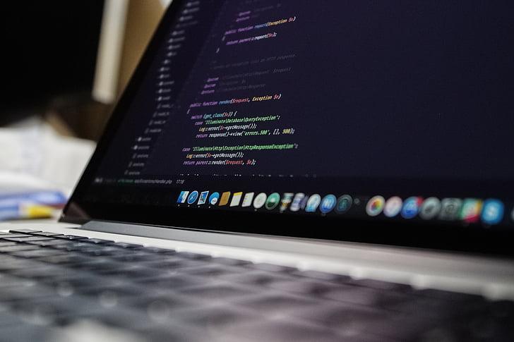 kódy, počítač, elektronika, přenosný počítač, MacBook, obrazovka