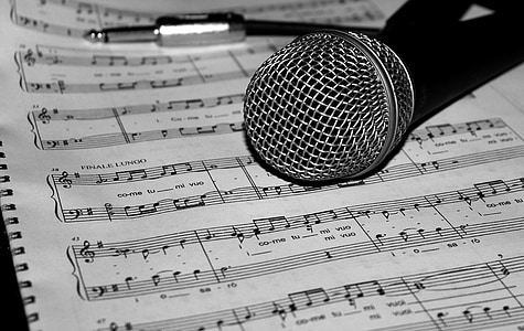 microphone, music, score, song