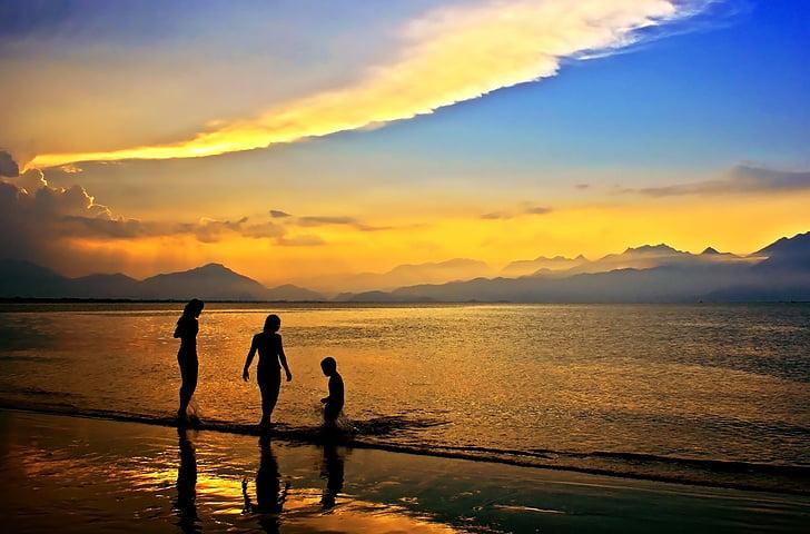 posta de sol, crepuscle, Badia de da nang, ciutat de Danang, central vietnam, Vietnam, Mar