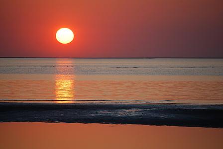 pôr do sol, vermelho, laranja, noite, arrebol, céu, céu da noite