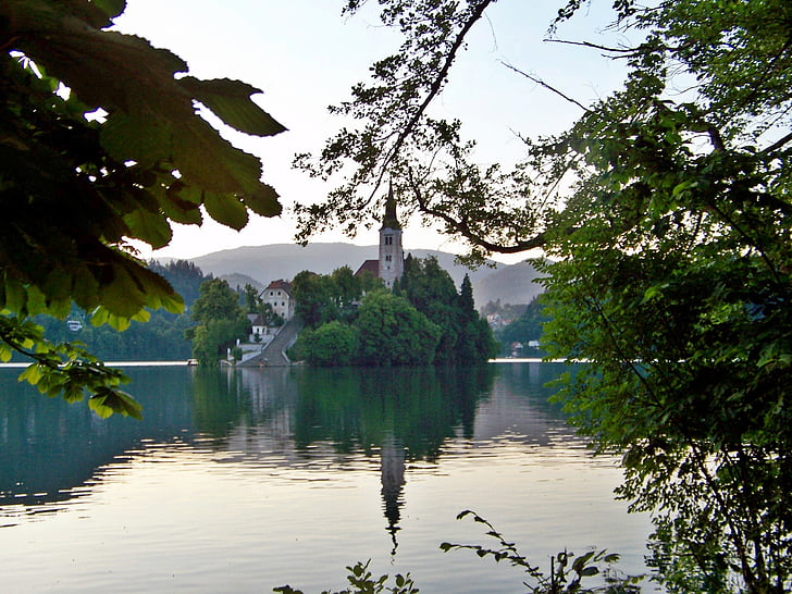 chapel, island, lake bled, perspective, slovenia, bad weather photography, karawanken
