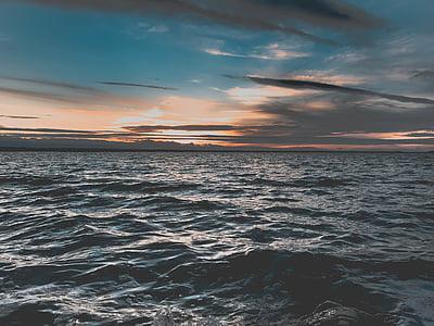 plage, aube, lumière, nature, océan, à l'extérieur, mer