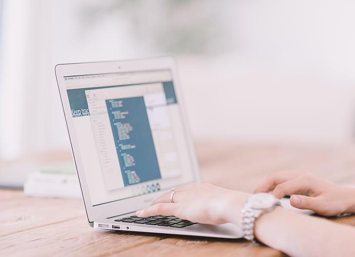 macbook, air, turned, computer, hand, laptop, desk