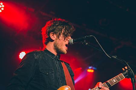 artist, concert, guitar, man, microphone, musician, performer