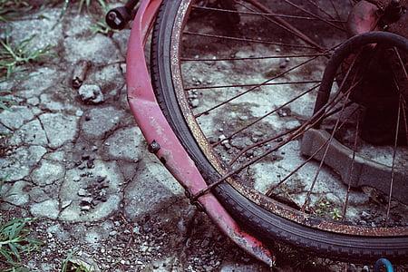 bicikl, bicikala, slomljena, ceste, napustiti, bezvrijedne