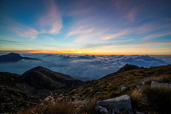 moln, molnlandskap, gräs, Hills, landskap, bergets topp, bergen