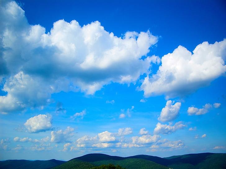 dağlar, gökyüzü, bulutlar, mavi, Beyaz, Blue ridge, aralığı