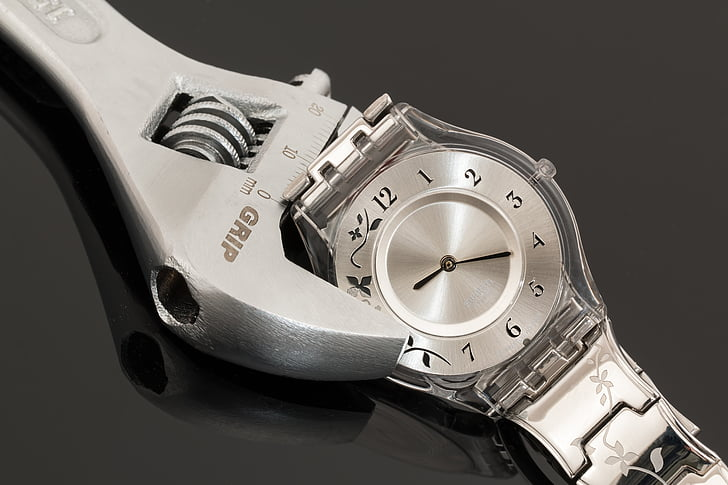 wristwatch, shifting spanner, time management, adjustment, control, hours, minutes
