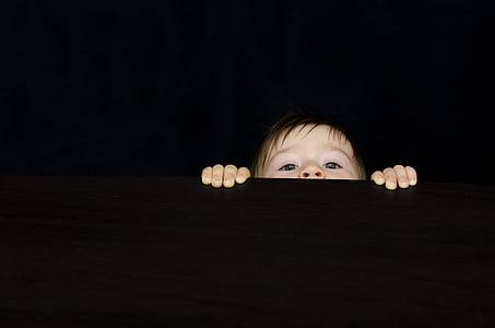 curiosity, baby, boy, desk, face, child, table